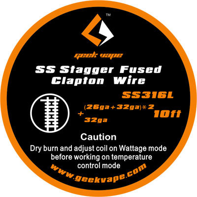 GeekVape SS Stagger Fused Clapton Wire, 3m